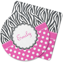 Zebra Print & Polka Dots Rubber Backed Coaster (Personalized)