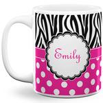 Zebra Print & Polka Dots 11 Oz Coffee Mug - White (Personalized)
