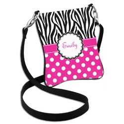 Zebra Print & Polka Dots Cross Body Bag - 2 Sizes (Personalized)