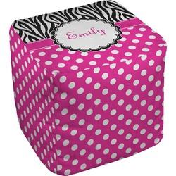Zebra Print & Polka Dots Cube Pouf Ottoman (Personalized)