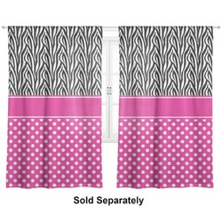 "Zebra Print & Polka Dots Curtains - 40""x84"" Panels - Unlined (2 Panels Per Set) (Personalized)"