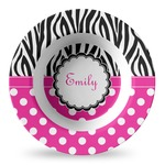 Zebra Print & Polka Dots Plastic Bowl - Microwave Safe - Composite Polymer (Personalized)