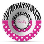 Zebra Print & Polka Dots Plastic Bowl - Microwave Safe - Composite Polymer (Personalized)