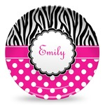 Zebra Print & Polka Dots Microwave Safe Plastic Plate - Composite Polymer (Personalized)