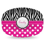 Zebra Print & Polka Dots Plastic Platter - Microwave & Oven Safe Composite Polymer (Personalized)