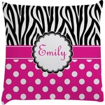 Zebra Print & Polka Dots Decorative Pillow Case (Personalized)