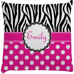 Zebra Print & Polka Dots Decorative Pillow Case (Personalized)