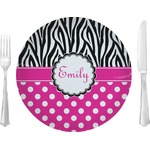 Zebra Print & Polka Dots Glass Lunch / Dinner Plates 10