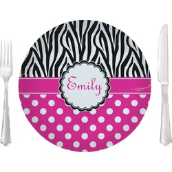 "Zebra Print & Polka Dots 10"" Glass Lunch / Dinner Plates - Single or Set (Personalized)"