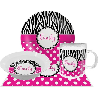 Zebra Print & Polka Dots Dinner Set - 4 Pc (Personalized)