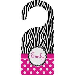 Zebra Print & Polka Dots Door Hanger (Personalized)