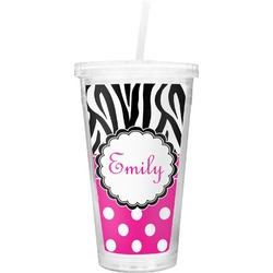 Zebra Print & Polka Dots Double Wall Tumbler with Straw (Personalized)