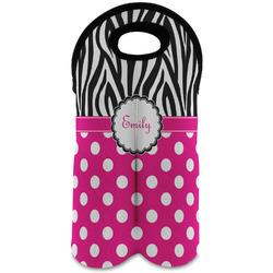 Zebra Print & Polka Dots Wine Tote Bag (2 Bottles) (Personalized)