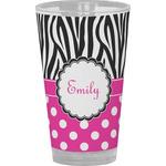 Zebra Print & Polka Dots Drinking / Pint Glass (Personalized)