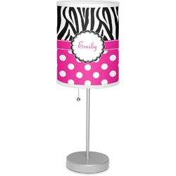 """Zebra Print & Polka Dots 7"""" Drum Lamp with Shade Polyester (Personalized)"""