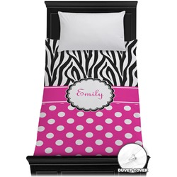 Zebra Print & Polka Dots Duvet Cover - Twin (Personalized)