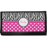 Zebra Print & Polka Dots Canvas Checkbook Cover (Personalized)