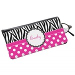 Zebra Print & Polka Dots Genuine Leather Eyeglass Case (Personalized)