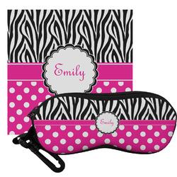 Zebra Print & Polka Dots Eyeglass Case & Cloth (Personalized)