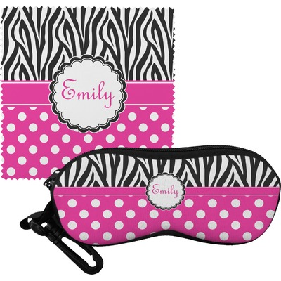 Zebra Print & Polka Dots Eyeglass Case & Cloth (Personalized)