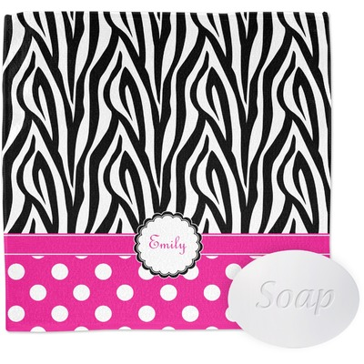 Zebra Print & Polka Dots Washcloth (Personalized)