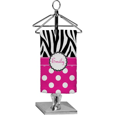 Zebra Print & Polka Dots Finger Tip Towel - Full Print (Personalized)