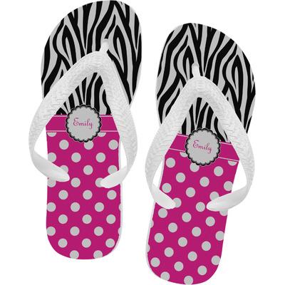 Zebra Print & Polka Dots Flip Flops (Personalized)