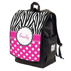 Zebra Print & Polka Dots Backpack w/ Front Flap  (Personalized)