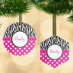 Zebra Print & Polka Dots Flat Glass Ornament w/ Name or Text