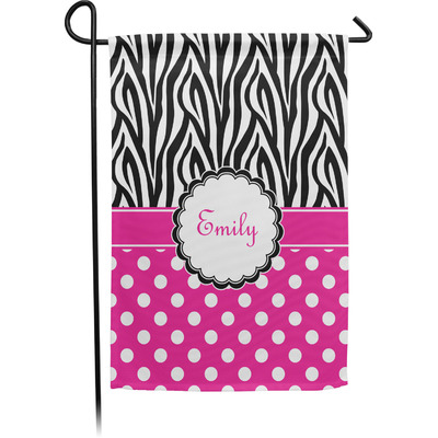 Zebra Print & Polka Dots Garden Flag - Single or Double Sided (Personalized)