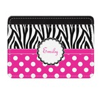 Zebra Print & Polka Dots Genuine Leather Front Pocket Wallet (Personalized)