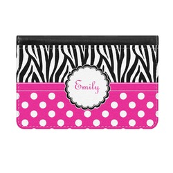 Zebra Print & Polka Dots Genuine Leather ID & Card Wallet - Slim Style (Personalized)