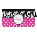 Zebra Print & Polka Dots Genuine Leather Ladies Zippered Wallet (Personalized)