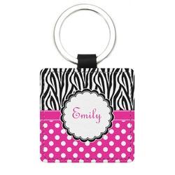 Zebra Print & Polka Dots Genuine Leather Rectangular Keychain (Personalized)
