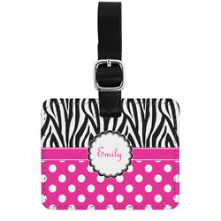 Zebra Print & Polka Dots Genuine Leather Luggage Tag w/ Name or Text