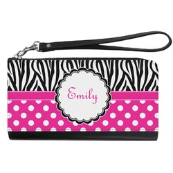 Zebra Print & Polka Dots Genuine Leather Smartphone Wrist Wallet (Personalized)
