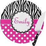 Zebra Print & Polka Dots Round Glass Cutting Board (Personalized)