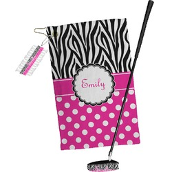 Zebra Print & Polka Dots Golf Towel Gift Set (Personalized)
