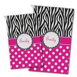 Zebra Print & Polka Dots Golf Towel - Full Print w/ Name or Text
