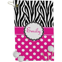 Zebra Print & Polka Dots Golf Towel - Full Print (Personalized)