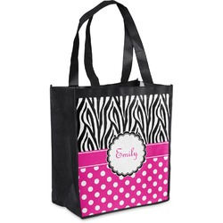 Zebra Print & Polka Dots Grocery Bag (Personalized)