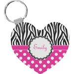 Zebra Print & Polka Dots Heart Plastic Keychain w/ Name or Text
