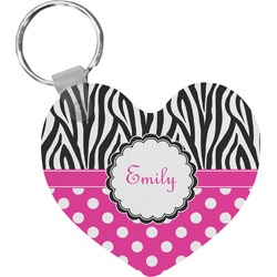 Zebra Print & Polka Dots Heart Keychain (Personalized)