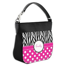 Zebra Print & Polka Dots Hobo Purse w/ Genuine Leather Trim (Personalized)
