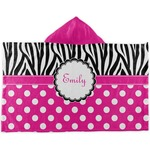 Zebra Print & Polka Dots Kids Hooded Towel (Personalized)