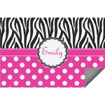 Zebra Print & Polka Dots Indoor / Outdoor Rug (Personalized)