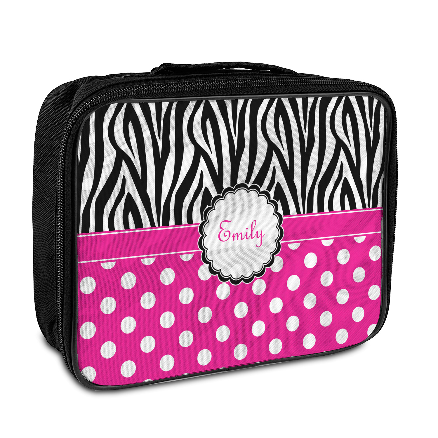 10307fdff Zebra Print & Polka Dots Insulated Lunch Bag (Personalized ...