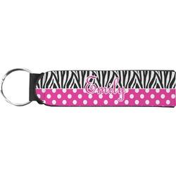 Zebra Print & Polka Dots Neoprene Keychain Fob (Personalized)