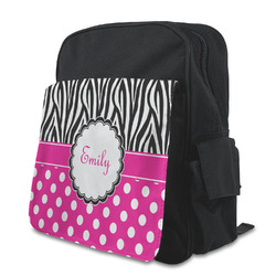 Zebra Print & Polka Dots Kid's Backpack with Customizable Flap (Personalized)