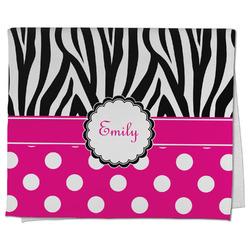 Zebra Print & Polka Dots Kitchen Towel - Full Print (Personalized)